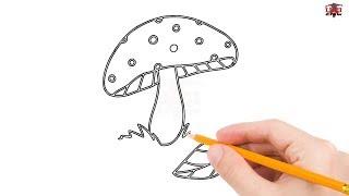 mushroom drawing simple draw mushrooms easy drawings beginners step paintingvalley tutorial