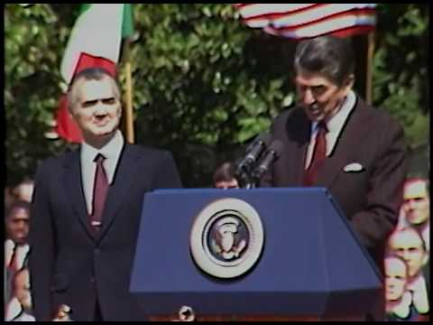 President Reagan at the Arrival Ceremony of President Hurtado of Mexico on May 15, 1984