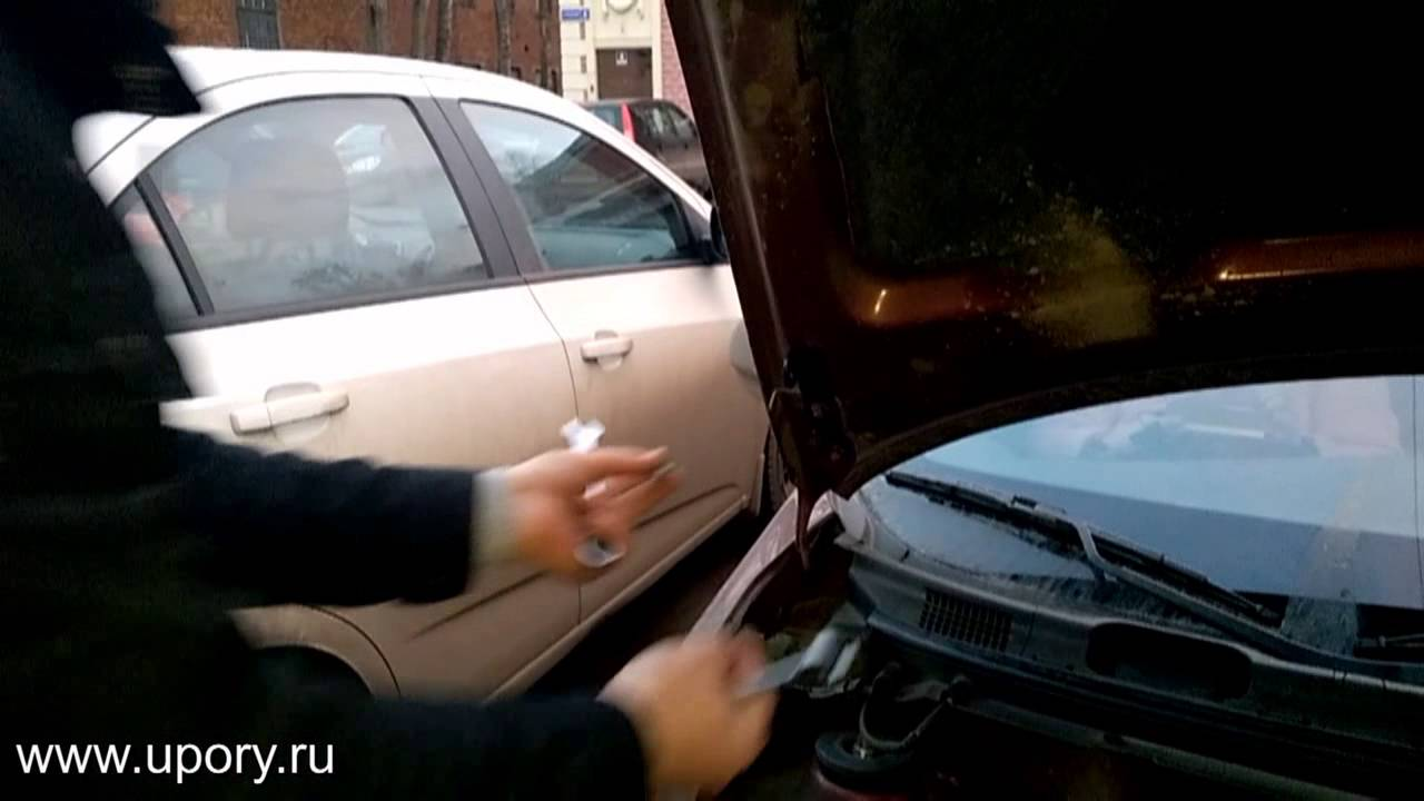 Установка амортизаторов (упоров) капота для Nissan Almera 3 (2 амортизатора) от upory.ru