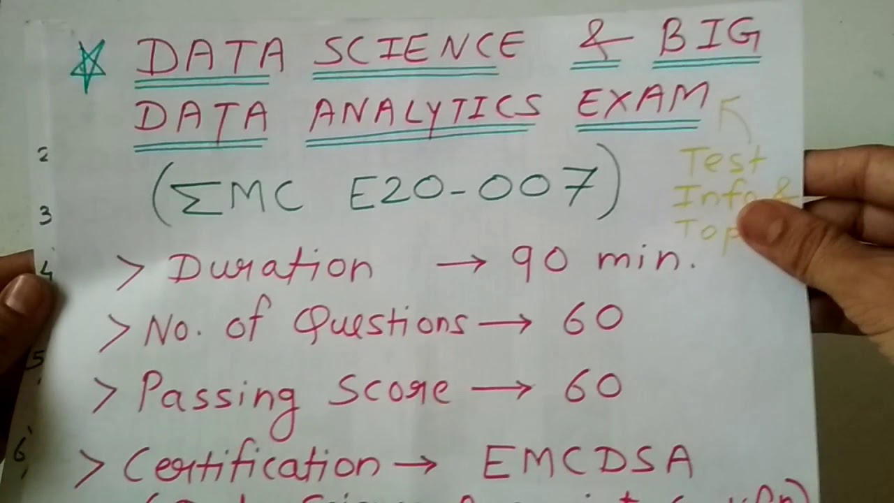 Data Science Exam Information Topicse20 007 Dell Emc Global