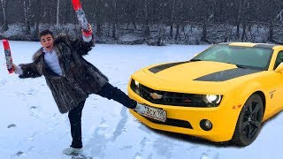 Funny Mr. Joe on Car Camaro is Skiing on Ice w/ Cracked Ice in Woods for Kids