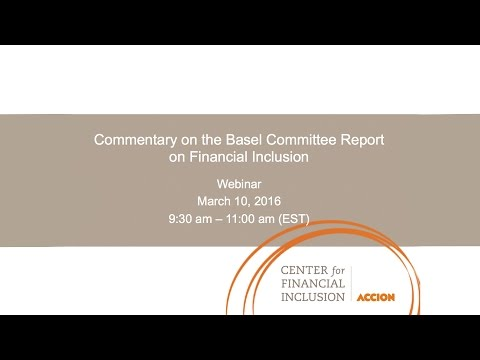 Commentary on the Basel Committee Report on Financial Inclusion Webinar