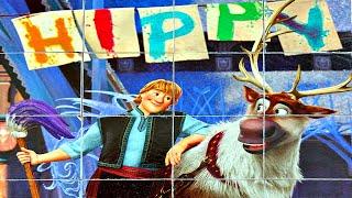 Холодное сердце 2 Кристофф и Свен собираем кубики пазлы для детей с героями мультика frozen 2