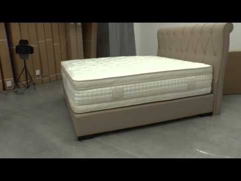 komplettes boxspringbett mit gefedertem boxspring unterbau u kopfteil youtube. Black Bedroom Furniture Sets. Home Design Ideas