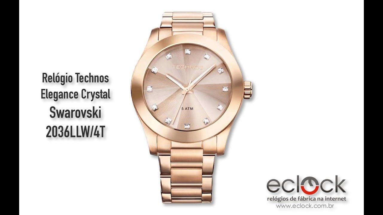 cef08fe283d03 Relógio Technos Feminino Elegance Crystal Swarovski 2036LLW 4T - Eclock