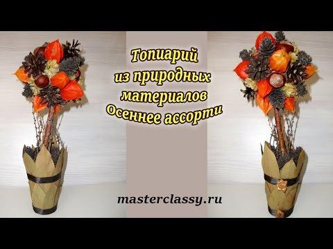 """Топиарий из природных материалов """"Осеннее ассорти"""". Видео"""