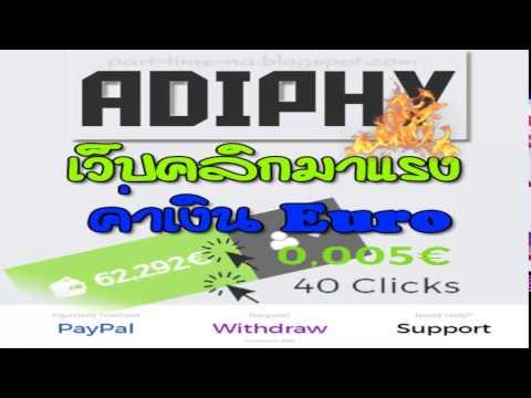 adiphy เว็บคลิกโฆษณาต่างประเทศ สกุลเงิน Euro จ่ายจริง  สมัครวันนี้ ฟรี 1 5 Euro