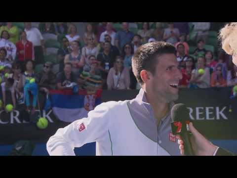 Novak Djokovic Impersonates Boris Becker | Australian Open 2014