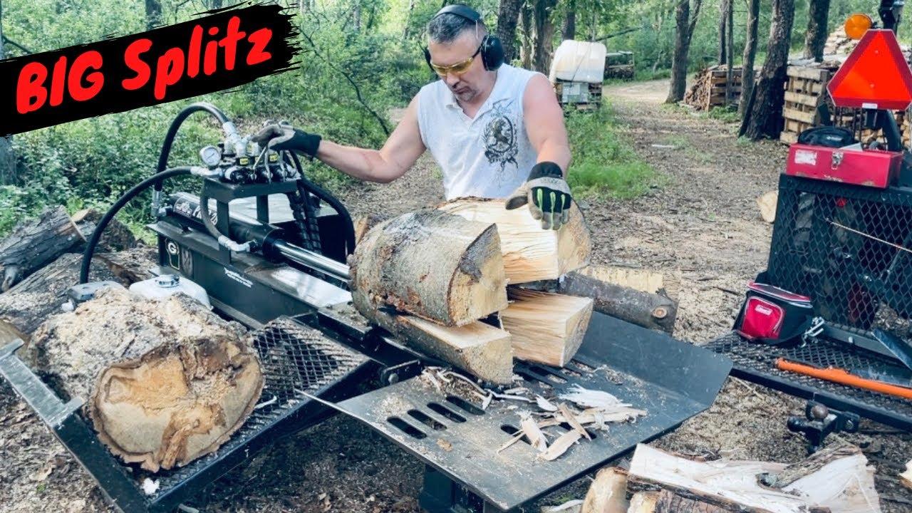 Splitting Firewood with 4 Way Wedge - Big Splits