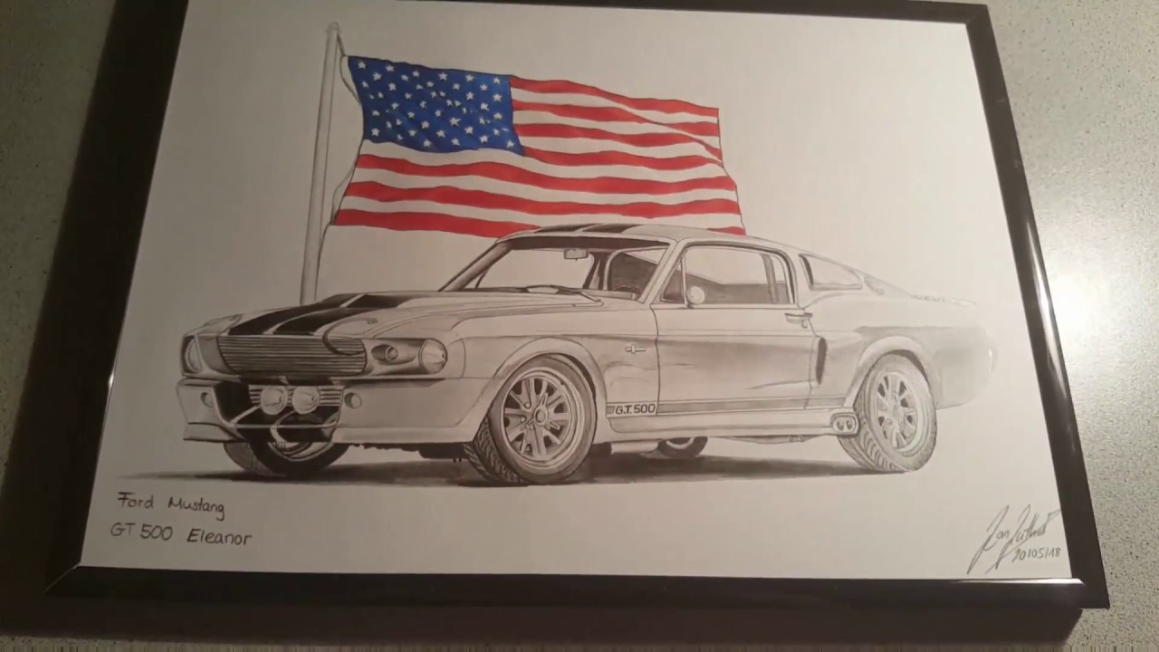Ford Mustang Gt 500 Eleanor Drawing Youtube