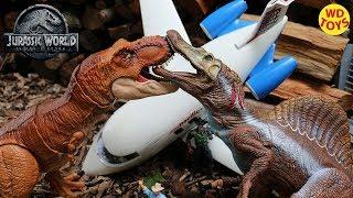 New T-Rex Vs Spinosaurus Jurassic World Fallen Kingdom Dino Battles The Lost World JP3 WD Toys