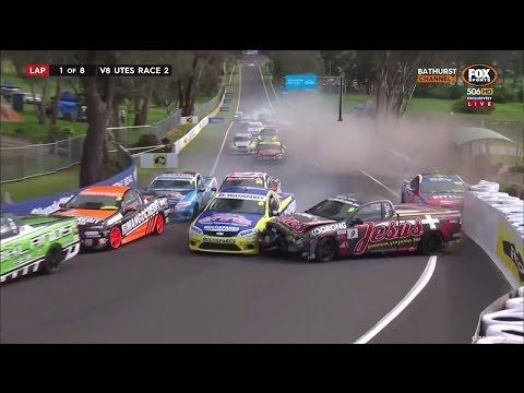 V8 Ute Racing Series 2016. Race 2 Mount Panorama Circuit. Start Crash