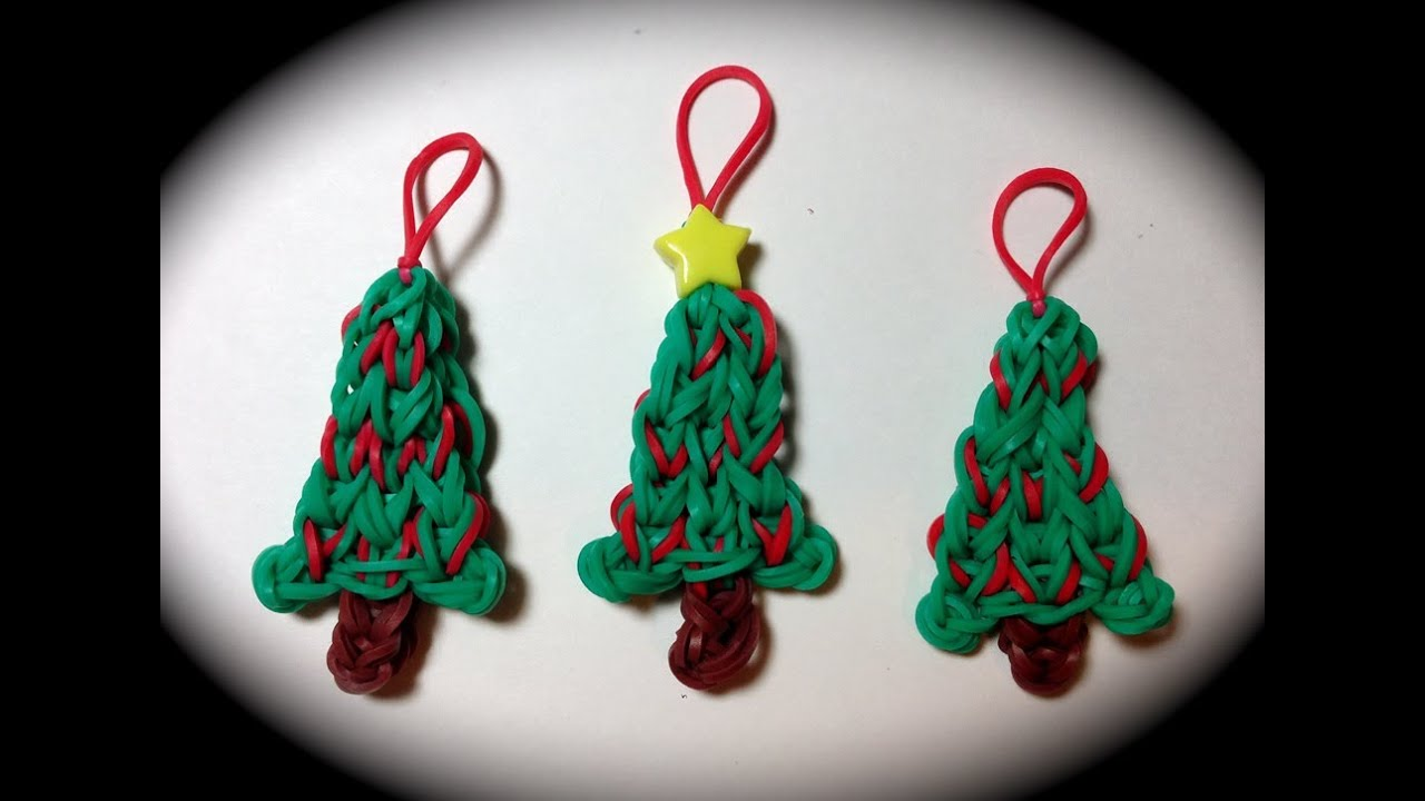 Made by Mommy's Christmas Tree Charm on the Rainbow Loom - YouTube