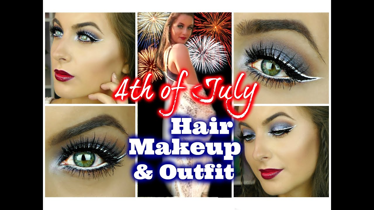 4th of july hair makeup & outfit