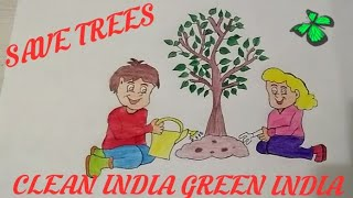 how to draw tree drawing for kids || save trees save earth save life ||  art & photography ||