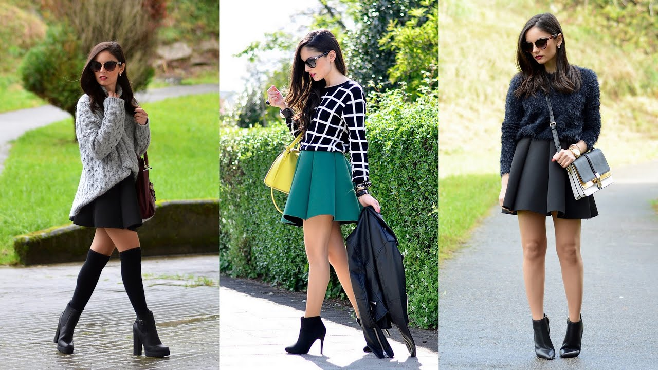 16 Stylish Ways to Wear a Skater Skirt This Winter - YouTube
