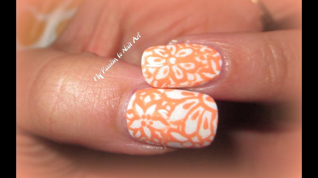 Fiori Unghie.Peach White Flowers Nails Tutorial Nail Art Fiori Su Unghie