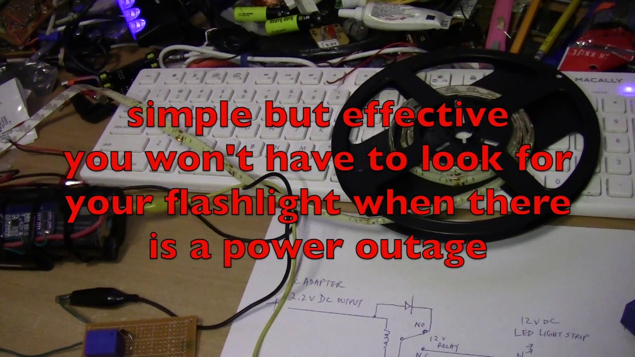 Testing A Simple 12 V Dc Auto On Emergency Light Circuit 12v Wiring Diagram Backup Part 1
