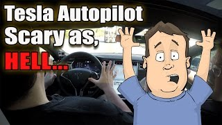 Tesla Autopilot in P85D Supercar, Scary as Hell!