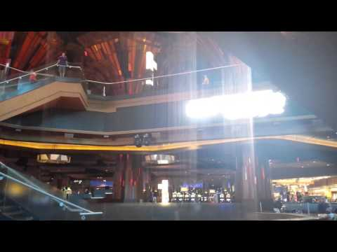 Light show through waterfall at Harrah's Cherokee Casino