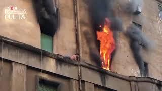 Salvataggio dalla casa in fiamme - Roma