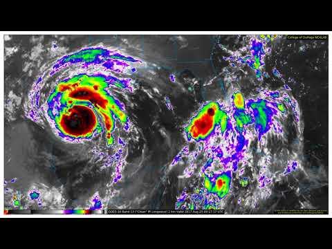 Hurricane Harvey - GOES16 Band13 2km IR Gulf of Mexico (20-30 August 2017)