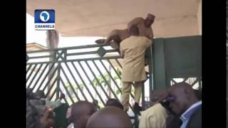 Nigerian National Lawmakers jumping Fence