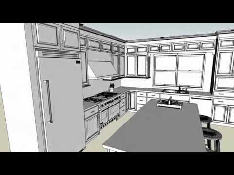 Modular Kitchen 3D Kitchen Walkthrough In Black U0026 White   By Design Indian  Kitchen