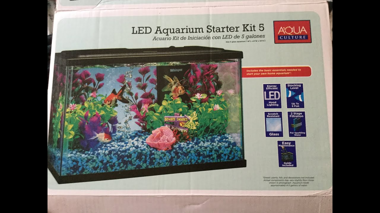 Aqua culture 5 gallon fish tank aquarium kit youtube for Fish tank kits walmart