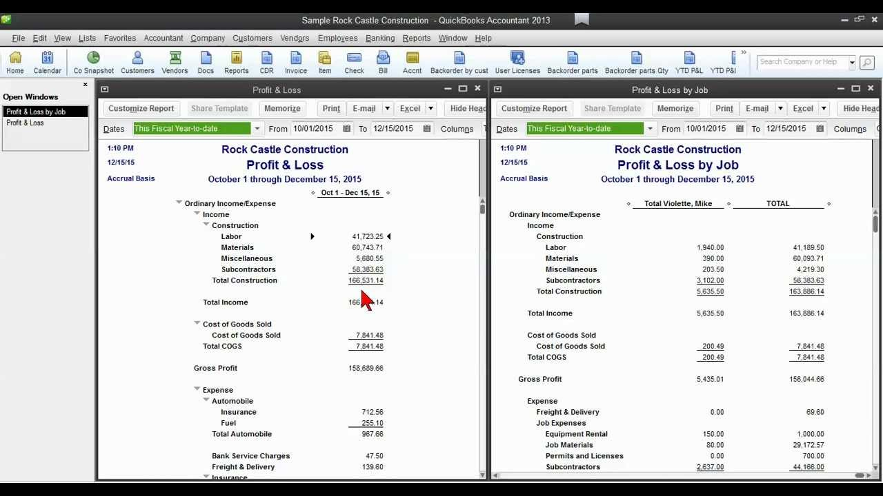 Quickbooks tip how to tie out profit loss by job to the for Quickbooks templates location