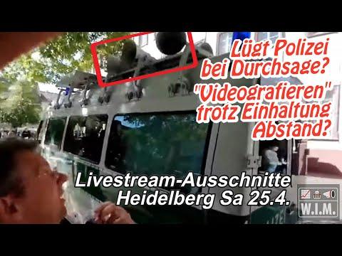 Lügt Polizei bei Durchsage? Abstand wirklich geprüft? Livestream-Ausschnitte Heidelberg Sa 25.4.