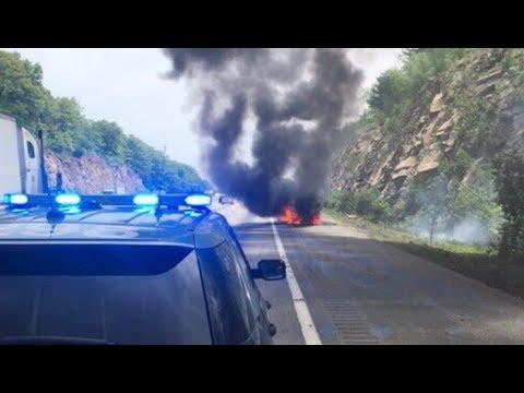 Video shows car on fire, billowing smoke on Massachusetts Turnpike