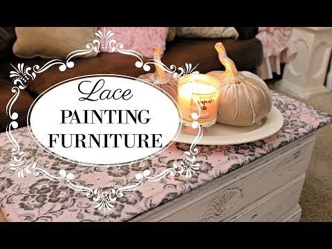 HOW TO PAINT LACE ON FURNITURE/ EASY DIY TUTORIAL
