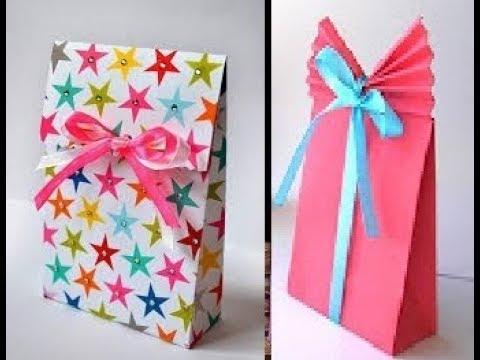 8e57408a0aa03 كيف تصنع شنطة هدايا عصرية؟من الورق سهله جداااDIY crafts  Paper GIFT BAG  (Easy)