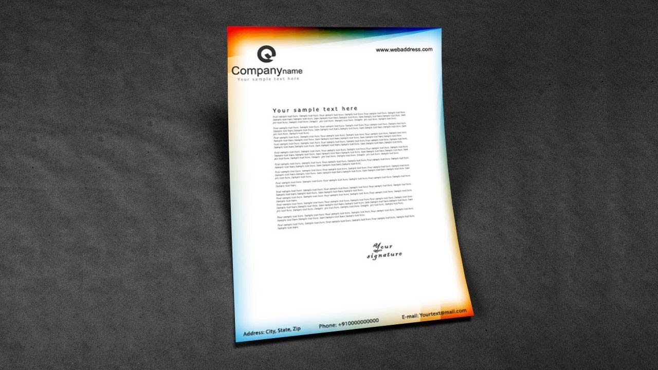 letter format for application%0A letterhead design sample