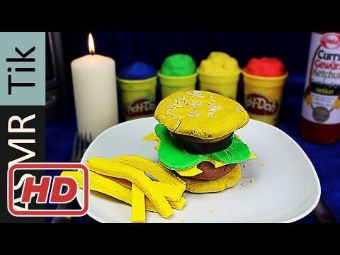 Kluna Eating Play Doh Burger and French Fries ASMR Eating Sounds No TalkKluna Tik 2017