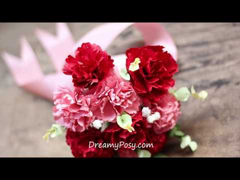 [FREE template] How to make bridal bouquet of paper carnation
