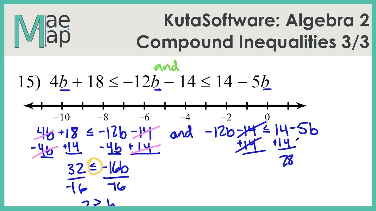 Kutasoftware Algebra 2 Compound Inequalities Part 3 Youtube