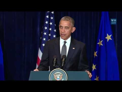 US - President Obama on the attacks in Dallas, Texas, USA at EU US leaders meeting press conference