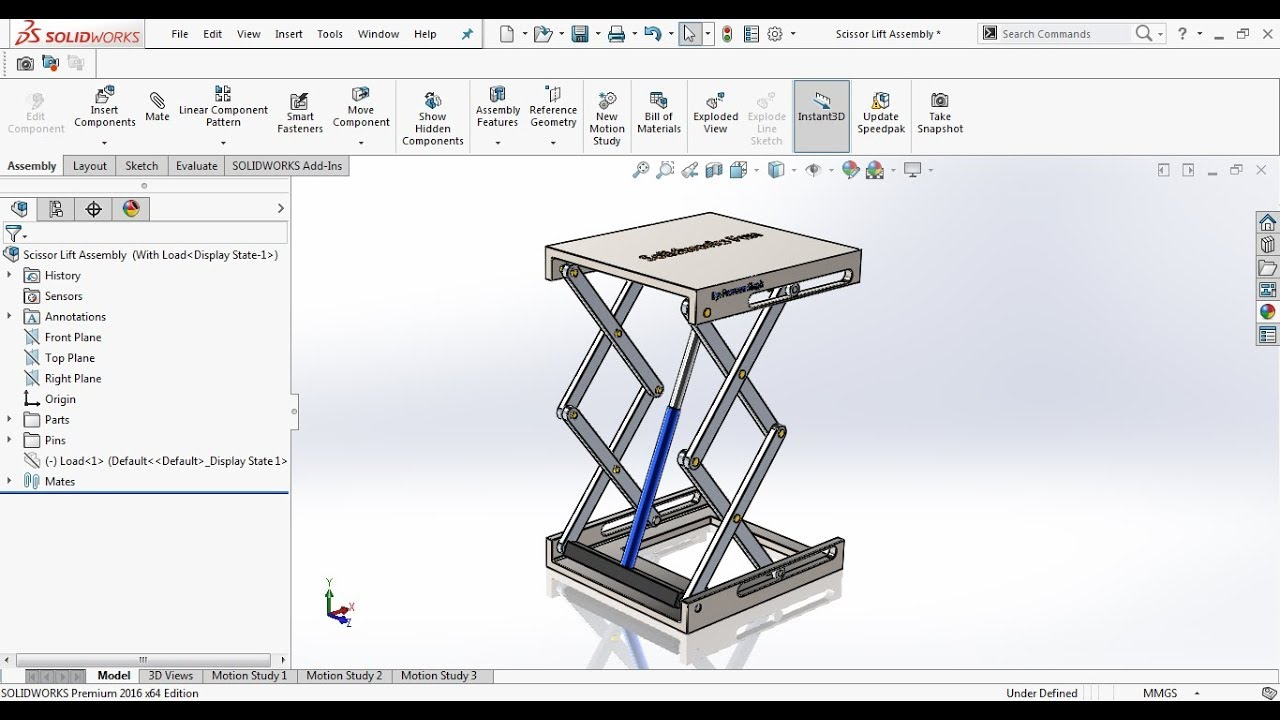 Hydraulic Scissor Lift Assembly and Motion Study in Solidworks