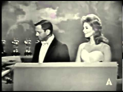 Tina Louise and Tony Randall present Oscars to 'The Apartment' and 'Spartacus' (Also Bob Hope!)