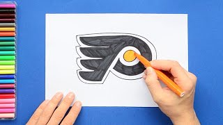 How to draw and color the Philadelphia Flyers Logo - NHL Team Series