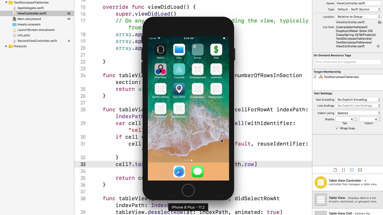 Swift 4 Navigation Controller And TableView