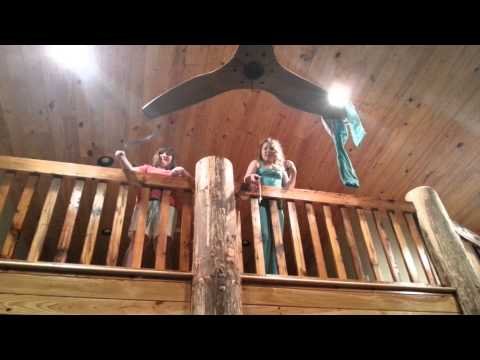 Saving pajamas from a ceiling fan at the lake cabin