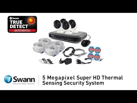 Swann 5MP SWDVK-849804 inc 8Ch DVR-4980 2TB HDD & 4x 5MP True Detect Bullet Cams video