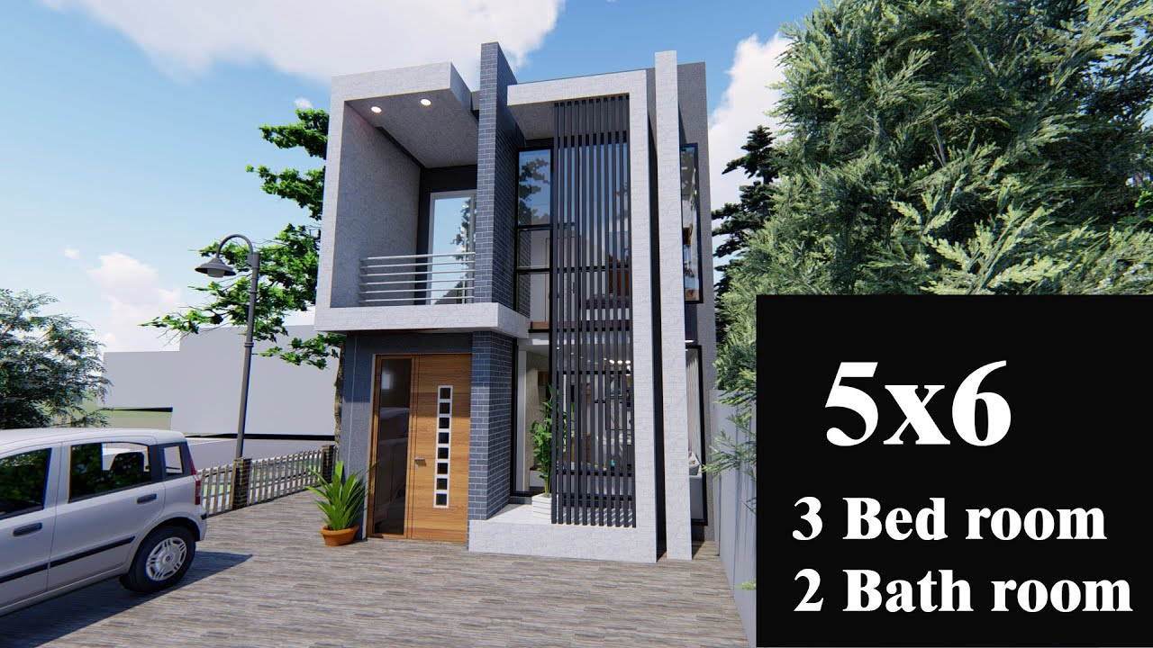 5 M 6 M Tiny House Small 2 Storey House Modern House Floor Plan Free Plan And 3d Design Youtube