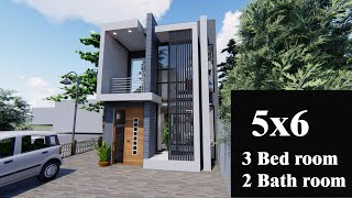 5 M* 6 M -tiny House , Small 2 Storey House,  ,modern House, Floor Plan , Free Plan And 3d Design
