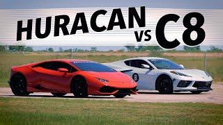 510 HP C8 Corvette vs 602 HP Lamborghini Huracan   Drag & Roll Race Comparison