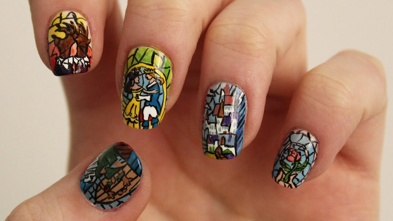 Beauty and the Beast Stained Glass Nail Art