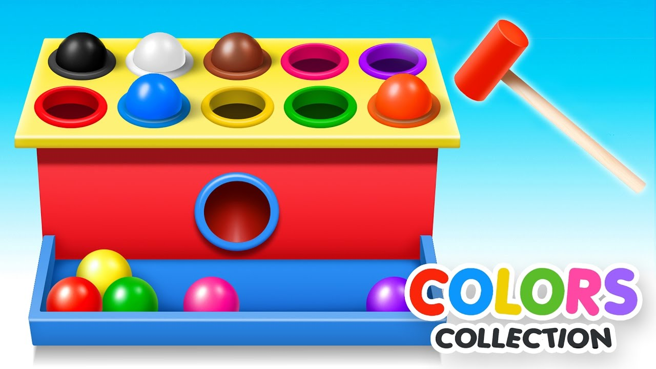 Toddler color learning games - Learn Colors With Wooden Ball Hammer Educational Toys Colors Video Collection For Children